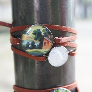 Paint by Number Double Charm Leather Wrap Bracelet - red barn farm sterling silver resin on brown strap band - vintage ephemera jewelry
