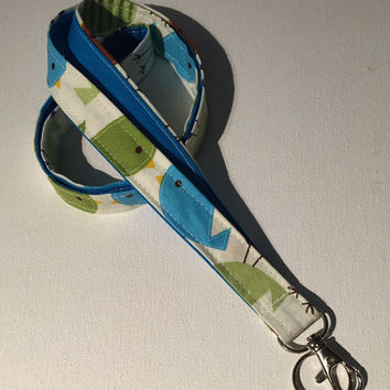 Lanyard  ID Badge Holder - Lobster clasp and key ring - design your own - urban birds -  blue back - two toned double sided