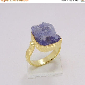 25% SALE Gold Vermeil Ring - Handmade Ring - Raw Tanzanite Ring - Bezel Set Ring - Birthstone Ring - Rough Stone Ring - Christmas Gift Ideas