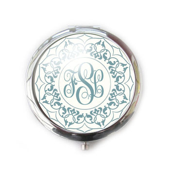 Green Ornate Personalized Monogram Compact Mirror