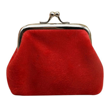 Vintage Red Corduroy Coin Purse