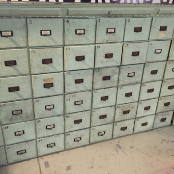 Antique Industrial Card Catalog Apothecary Cabinet Multi Drawer Cabinet