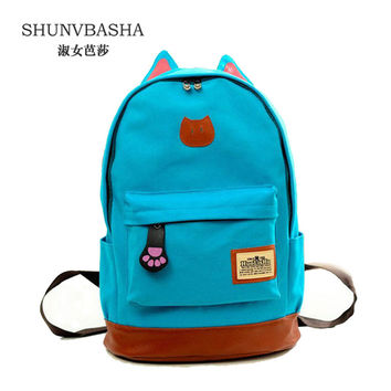 G>D 2016 Vintage Women Canvas Backpacks for Teenage Girls School Bags Cartoon Cat Backpack Female Travel Bag mochila rucksack