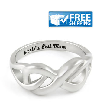 "Mother Gift - Infinity Promise Mother Ring Engraved on Inside with ""World's Best Mom"", Sizes 6 to 9"