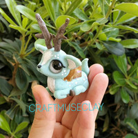 Mint Fantasy Crystal Deer Polymer Clay Figure//Gifts for Her//Cake Topper//Keepsake//Whimsical