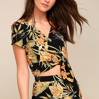 Exotic Adventure Black Floral Print Wrap Crop Top