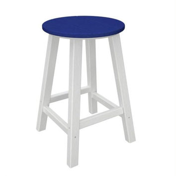 2 Bar Stools - Ocean Blue Seat And White Legs