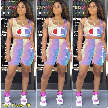 Champion Newest Popular Women Print Tie-Dye Shorts Sleeve Top Shorts Set Two Piece 3#