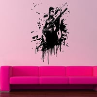 Wall Vinyl Sticker Decals Mural Design Art Cool Shooting Guy With Gun Blot Mural 803
