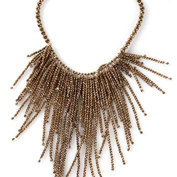 Brunello Cucinelli hematite fringe necklace