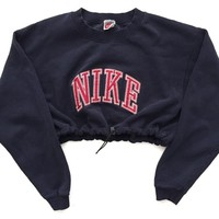Reworked Nike Crop Sweatshirt Navy