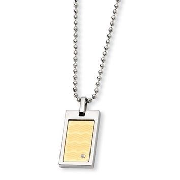 Stainless Steel, 18k Gold Plated and Diamond Dog Tag Necklace, 24 Inch