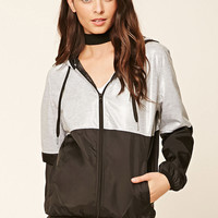 Heathered-Panel Windbreaker