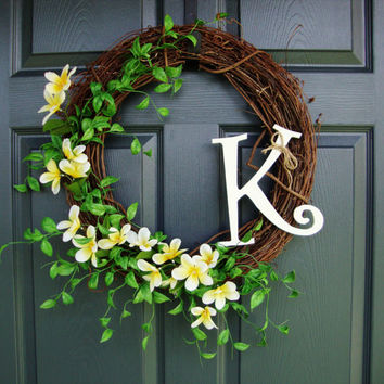 Monogram Wreath - Wildflower Wreath - Summer Wreath - Door Wreath Summer - Front Door Decor - Door Wreath - Includes FREE Wreath Hanger