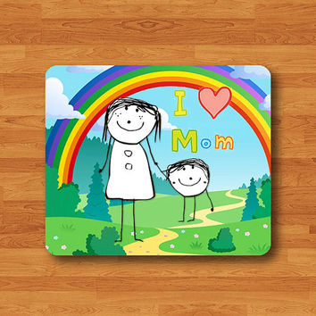 I LOVE MOM Kid Cute Drawing Mouse Pad Heart Mother Lovely Cartoon MousePad Art Office Desk Deco Home Use Personalized Computer Mother Gift