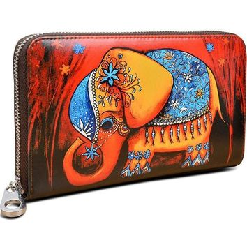 ONETOW YALUXE Women's Elephant Print Real Leather Large Zipper Clutch Wallet Phone Passport Checkbook Holder