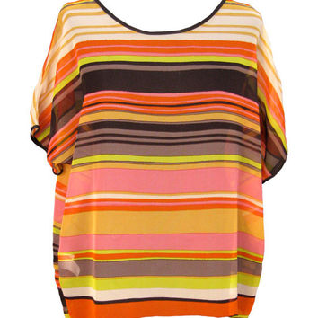 Strips Shirt, Oversized Chiffon Blouse, Plus Size, Pink, Orange, Yellow, Designers Shirt, Colored Stripes, Summer Blouse,
