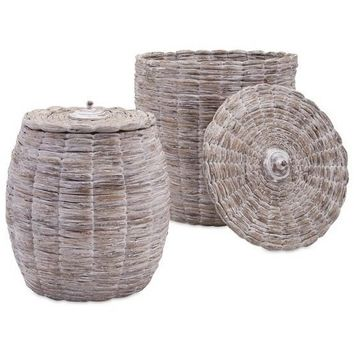 Madra Lidded White Woven Baskets