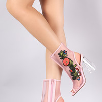 Delicious Floral Patch Mesh Chunky Perspex Heeled Booties