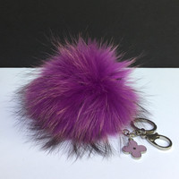 Fur Pom Pom keychain luxury bag charm pendant clover flower keychain keyring in purple with natural tips