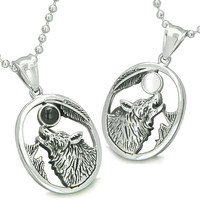 Amulets Howling Wolf Moon Best Friends Simulated Onyx White Cats Eye Yin Yang Pendant Necklaces