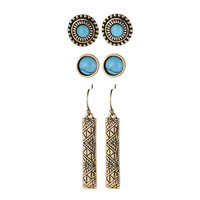 3 pairs/lot antique gold silver tibetan ethnic earring white blue turquoise stone jewelry long rectangle earrings