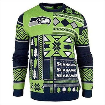 NFL UGLY SWEATER Seattle Seahawks Patches Sweatshirt, Officially Licensed NWT