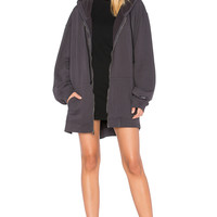 Hudson Jeans Oversized Zip Up Hoodie Dress in Grey | REVOLVE
