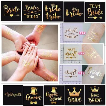 DCCKF4S 1 X Gold Bride Temporary Tattoo Bachelorette Party Accessories Bridesmaid Bridal Shower Wedding Decoration Photographs