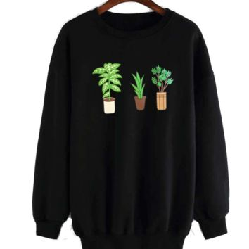 Womens Green Planets Trees Printed Sweatshirt