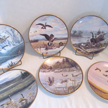 Proud Passage A Celebration Canada 125th Anniversary with Alan Barnard Collectors Plates of Canadian Geese Wildlife Habitat lot of 6