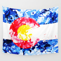 COLORADO PAINT FLAG Wall Tapestry by Maioriz Home
