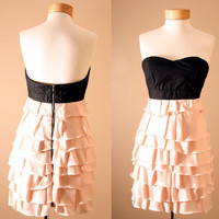 Statement Dress //  Corset Dress, Strapless, Black, Dusty Pink, Princess, Ruffle, Tiered, Dress, Peach, Bustier (S or M)