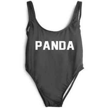 PANDA Text Print - Women's Sexy Sporty One-Piece Swimsuit - Backless
