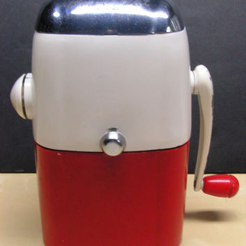 Vintage Retro Mid Century Red White Chrome Ice-O-Mat Turn Crank Ice Crusher Hand Crank Industrial Era Retro Hip Barware Cocktail Must Have