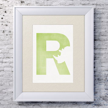 5x7 Alphabet Print 'R is for Rhino' - Animal Name Art - Rhino Baby Art - Baby Alphabet Print - Letter R - Zoo Animal Print - Rhino Print