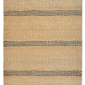 Mixed Jute Weaves Rugged Stripes Area Rug in Grey and Natural design by Classic Home