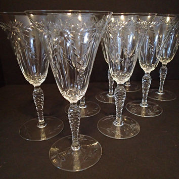 Seneca Glass Cut Crystal Vintage Stemware Water goblets, flared rim, cut flowers & swags w/ honeycomb cut stems, set if 8 vintage barware