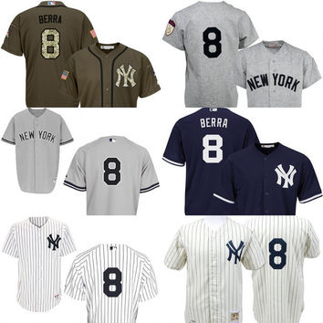 White grey blue Throwback Yogi Berra Authentic Jersey , Men's #8 Mitchell And Ness New York Yankees