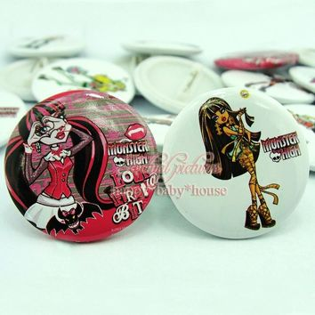 18PCS Monster High Girls' Love 30mm Diameter Buttons Pins Badges Round Brooch Badges Kids Party Gifts/Favors Bags Accessories