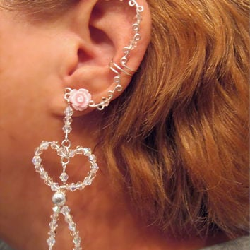 No Piercing Crystal Heart Rose and Crystal Long Dangle Ear Cuff