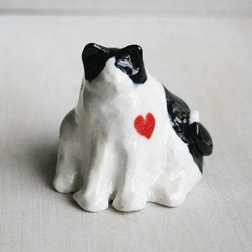 Cat Figurine Black and White Ceramic Cat Sculpture Ready to Ship Made in USA Fat Cat Stoneware Pottery