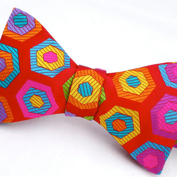 Mens Bow Tie - Mens Funky Geomtric Silk Red & Multicolour Bowtie - 'Poptastic I'