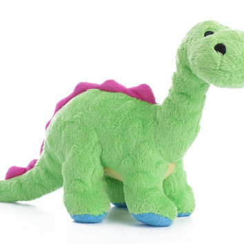 goDog Dinos Bruto Brontosaurus Dog Toy Sz: Small Green