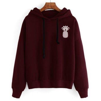 Spring Autumn Winter Women's Casual Loose  Pineapple Embroidery Sweater Pullover