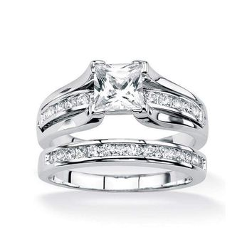 (Size 5-10) Stainless Steel Raised Cathedral Bridal Wedding Ring Set
