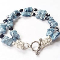 Lampwork Glass Jewelry, Double Strand Bracelet, Blue Glass, Black Gemstone