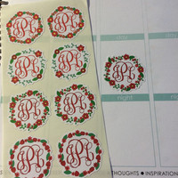 Set of 8 Monogram Wreath Stickers Great for your ECLP, filofax, scrapbook ect