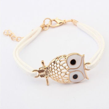 New Retro Owl Leather Bracelets Charm Bracelets for Women Vintage Jewelry for Christmas New Year Gift