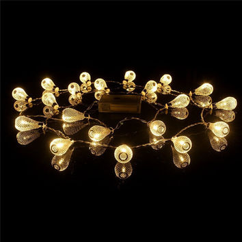 4m 40p Warm White Battery LED String Christmas Lights Luminaria Outdoor Mesh Hollow Droplets Nightlight Halloween Decoration